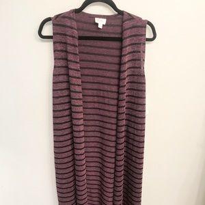 LulaRoe Purple and Black Striped Joy Vest size S